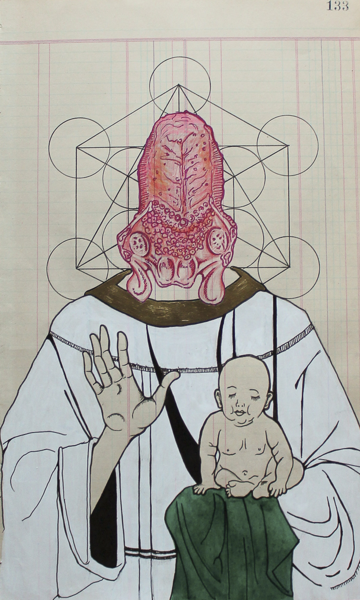 Enoch the celestial scribe, ink, graphite, and marker on aged paper, 2014