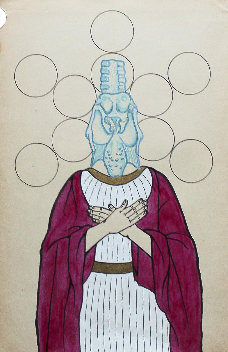 Vanir the apple bearer, ink, graphite, and marker on aged paper, 2014