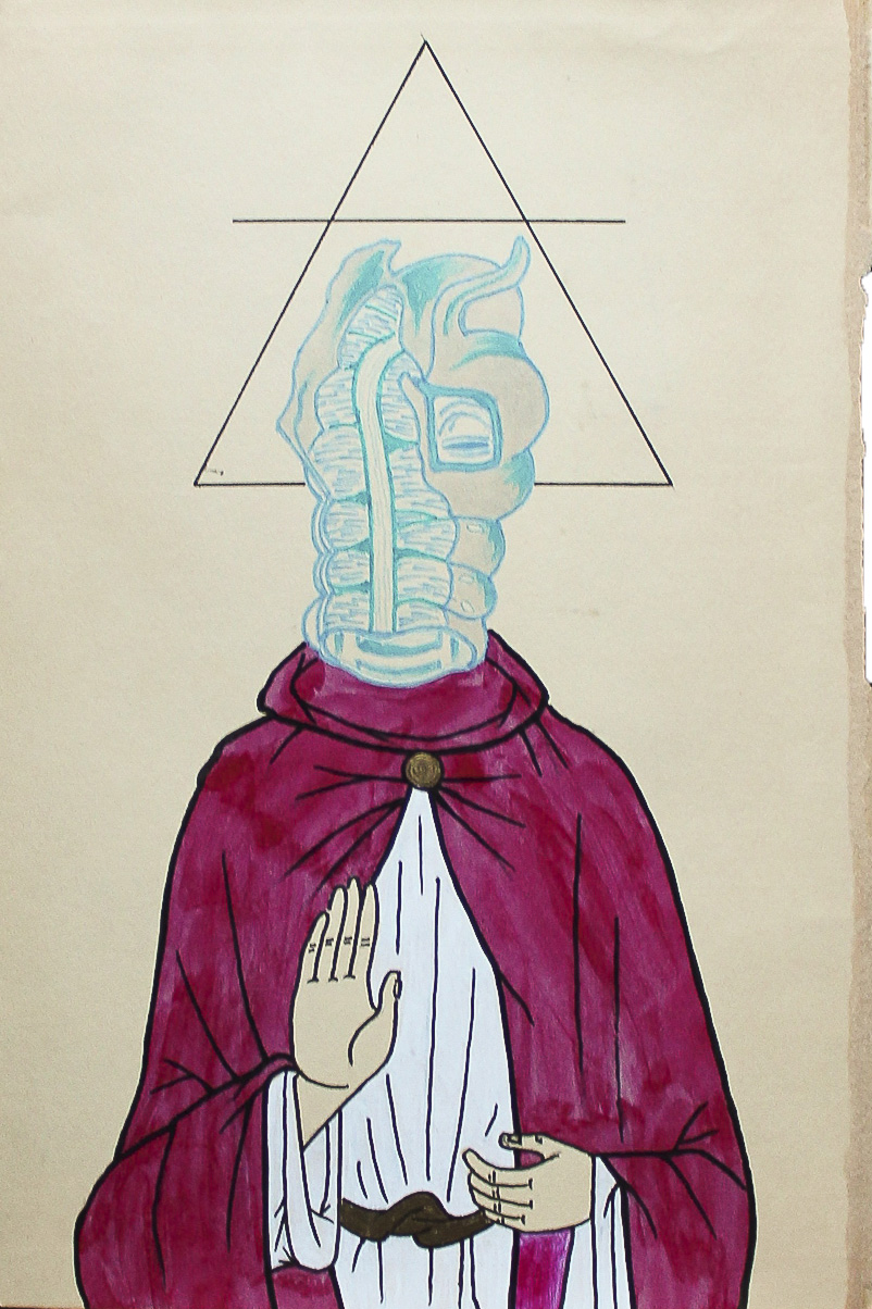 Spirare the hermaphrodite, ink, graphite, and marker on aged paper, 2014