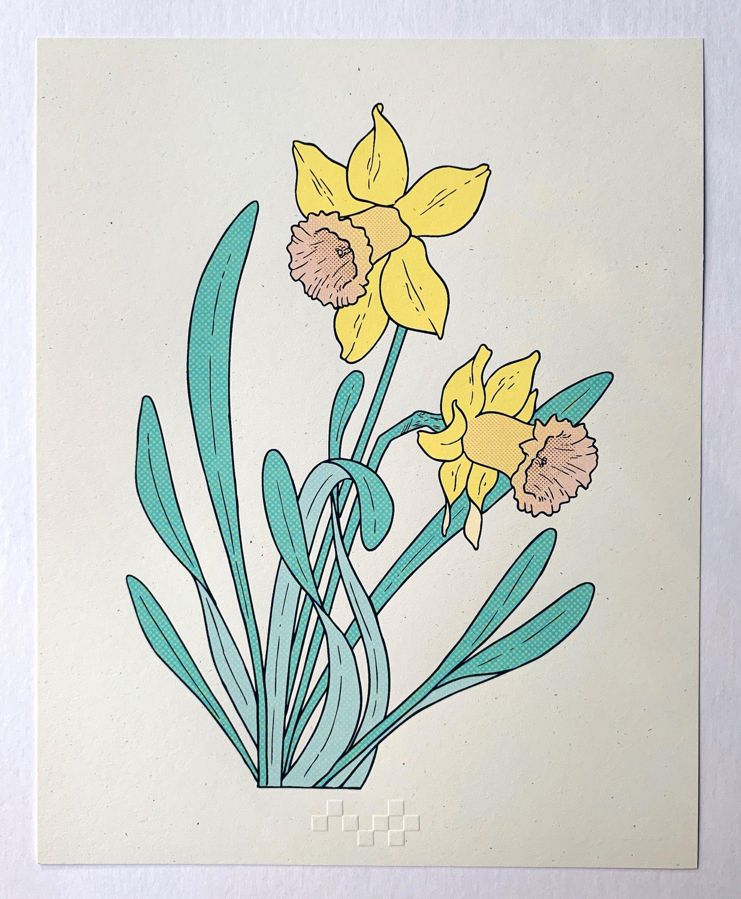 Daffodil: rebirth, serigraphy, 2018
