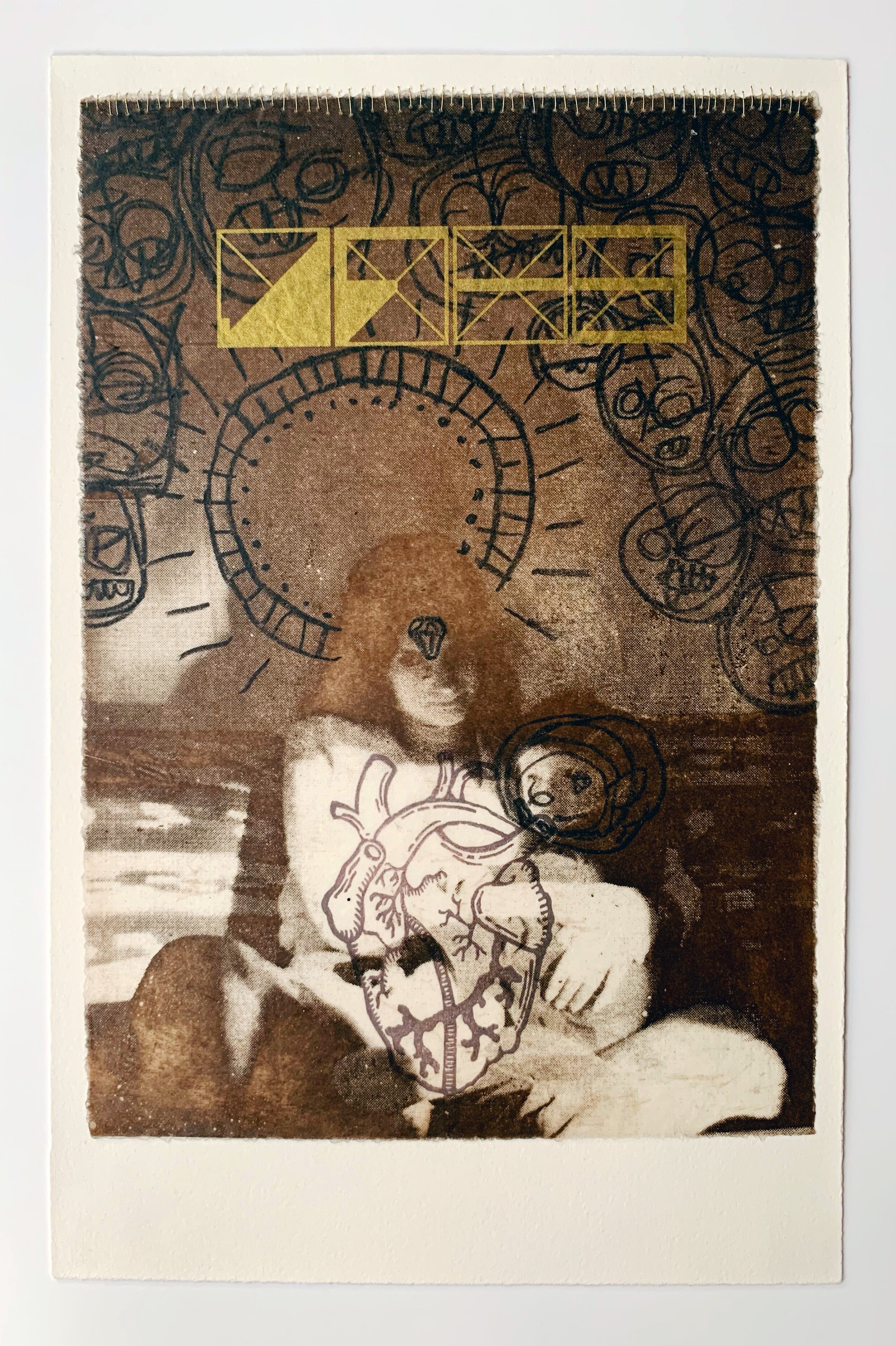 The loss of innocence produces monstros, serigraphy, intaglio, waxed Japanese paper, gold thread, and linocut, 2013