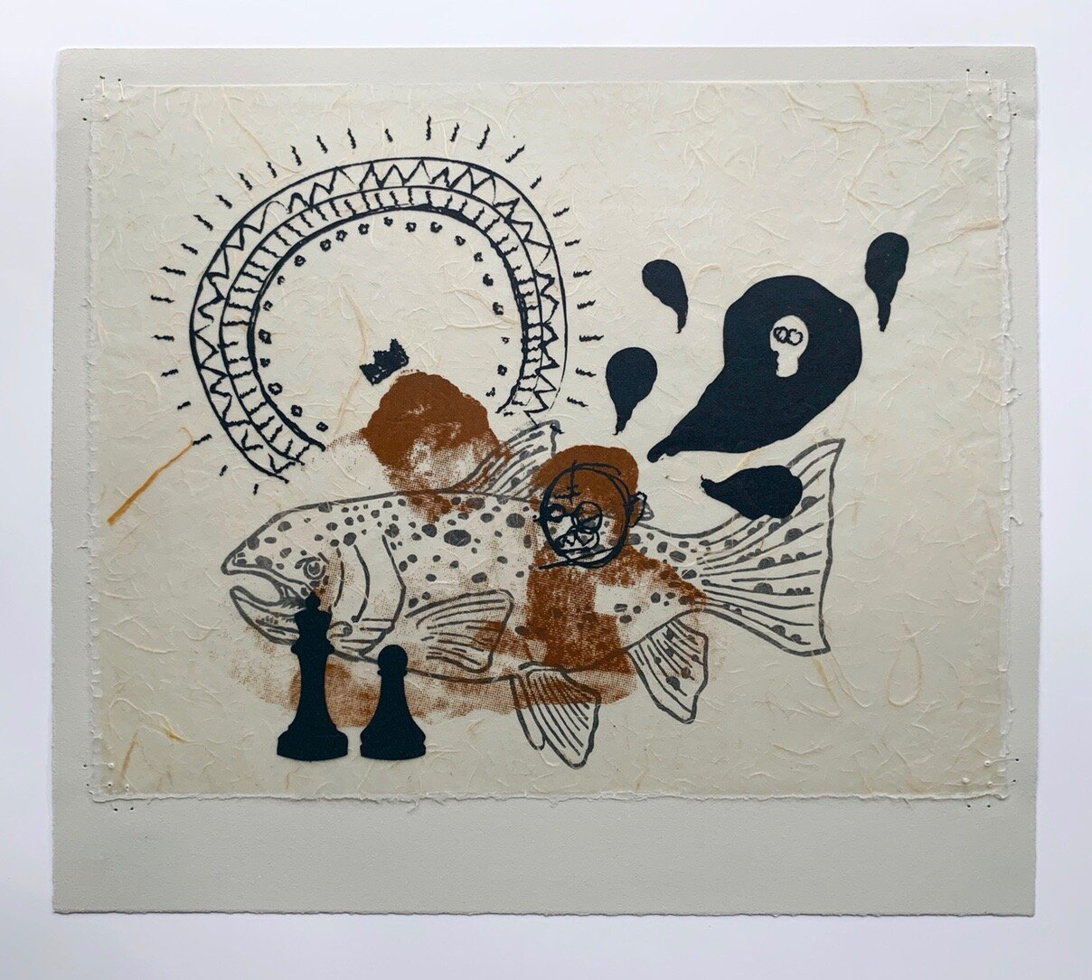 Under the tutelage of JF-3, serigraphy, waxed Japanese paper, fishing line, and linocut, 2013