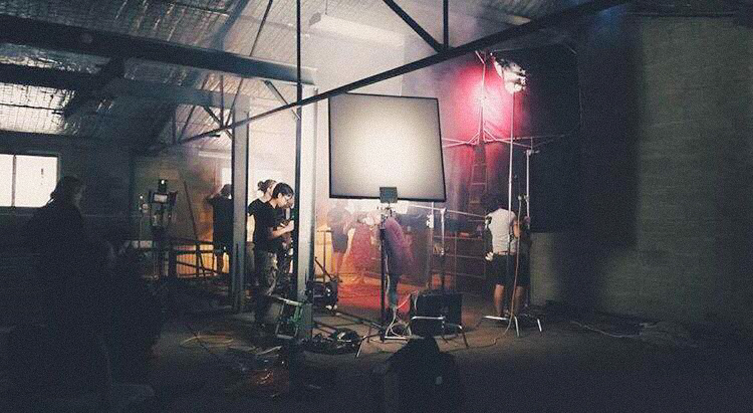 The crew setting up for the dance scene.