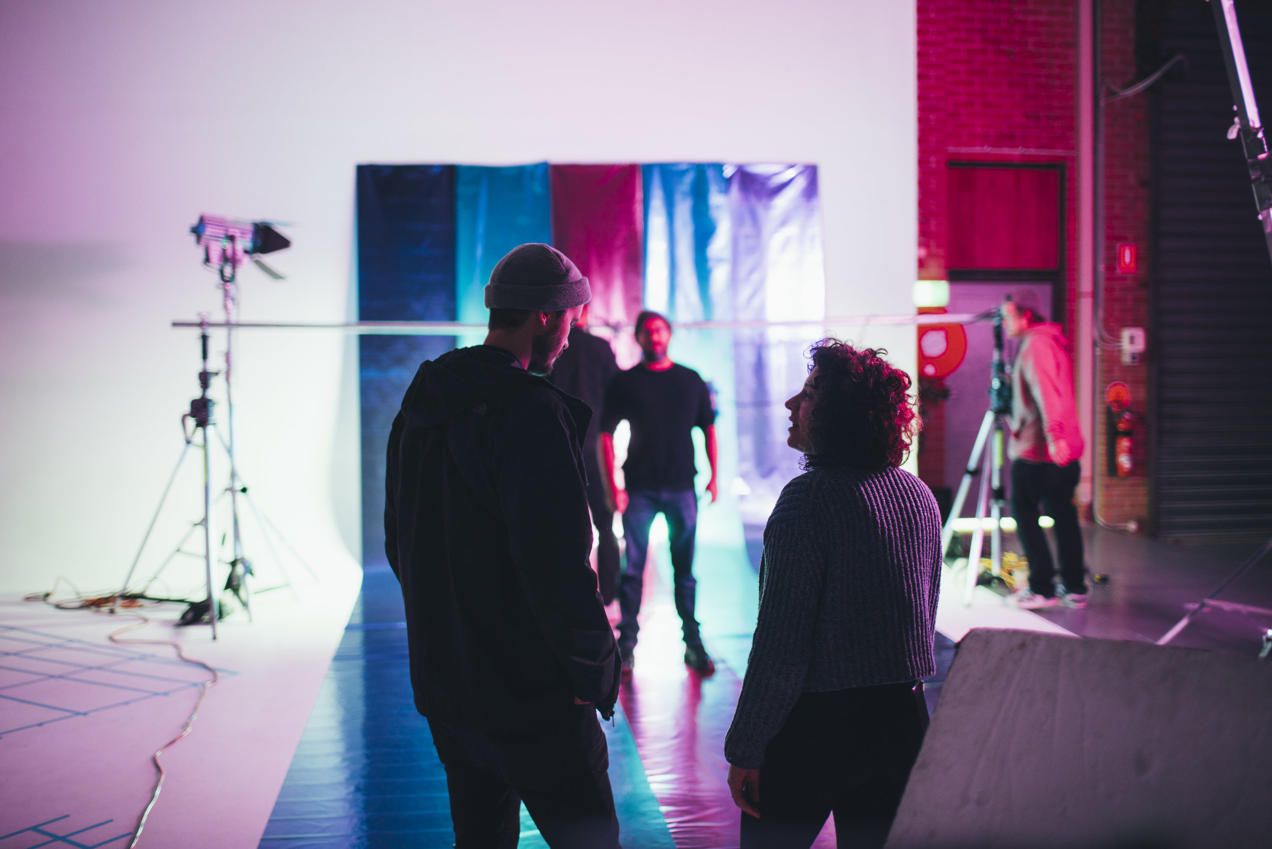 Director Rick and Art Director Bianca sussing the visuals