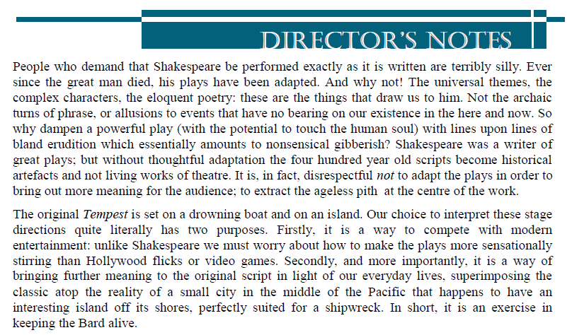 Directors notes from 2013