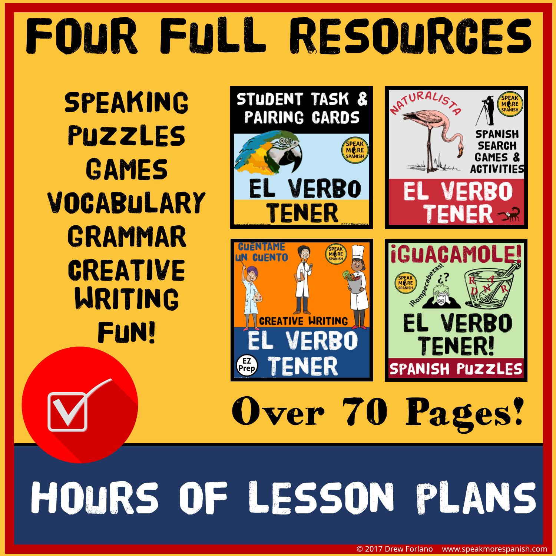 Speak More Spanish Tener BUNDLE Verbs