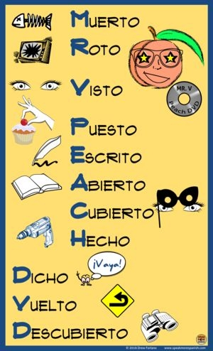 mr v peach dvd Spanish poster verbs