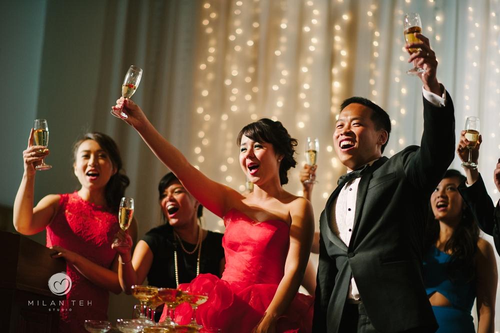 toasting at wedding reception in e&o hotel penang wedding