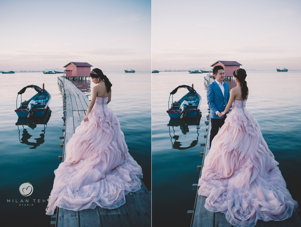 penang clan jetty prewedding with gown