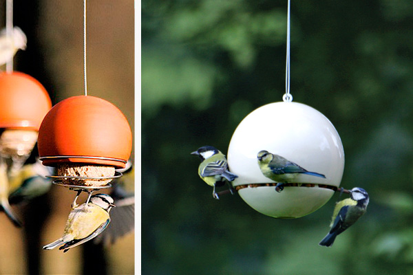 Contemporary garden bird feeders