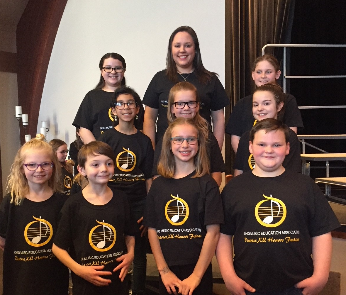 JFK Students pictured with Kettering Music Teacher Sarah Smith