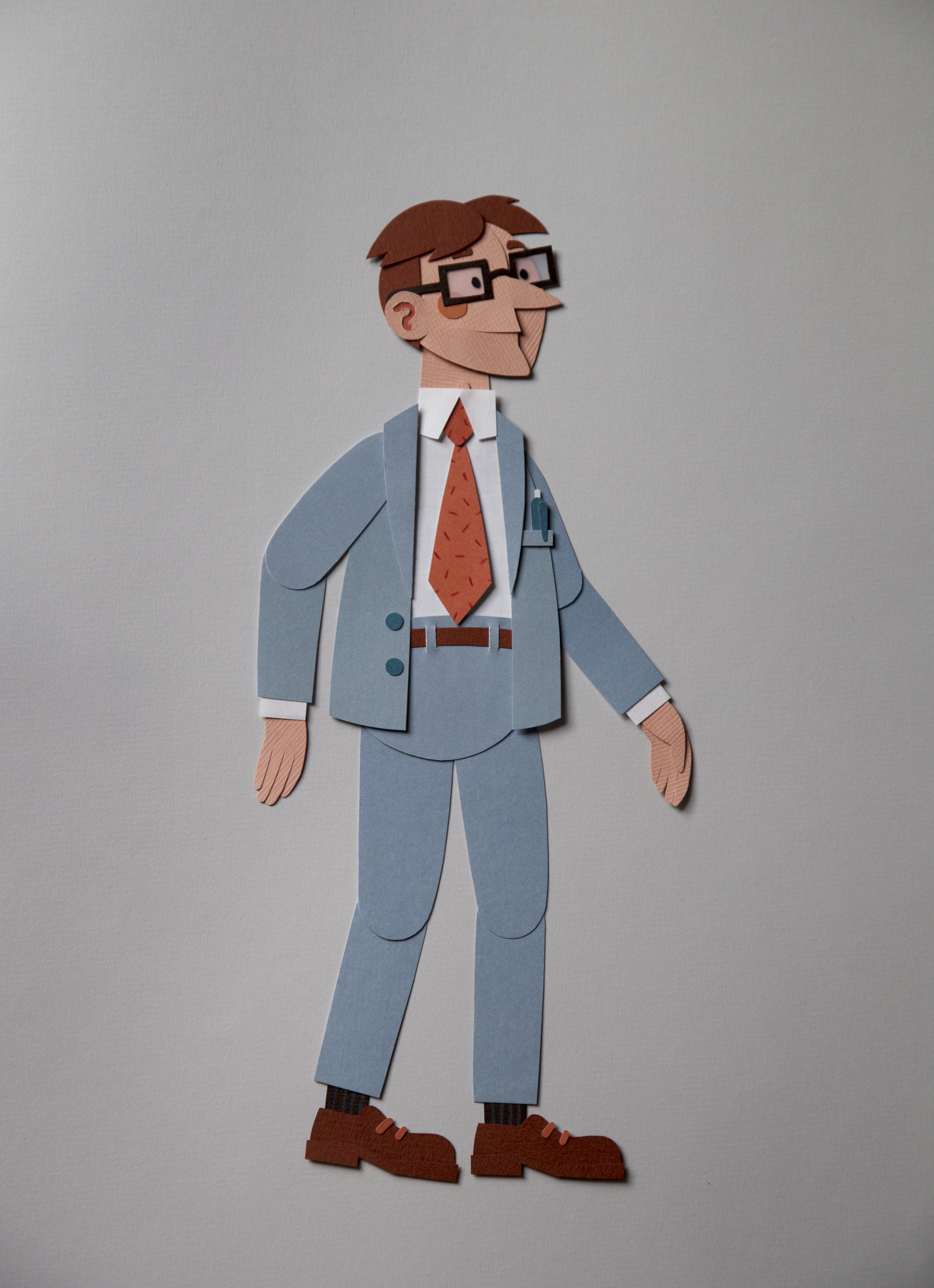 'Paper politician', character design for Oxfam.