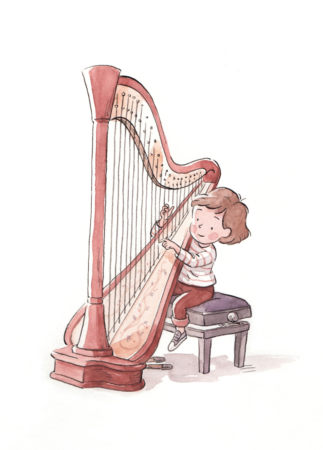 Playing the harp.