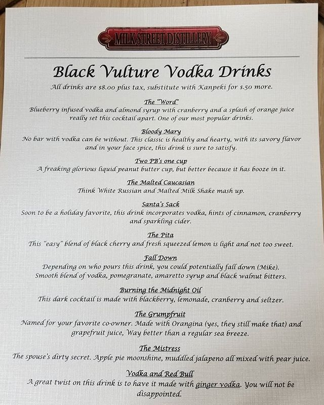 New winter menu this week. Some old drinks and amazing new ones. Come sit by the fire and share a drink with some friends. #drinklocalnj #drinklocal #drinkcraftnotcrap #newmenu #milkstreetdistillery #nj #distillery #cocktails #drinkmenu #vodka #rum #rye #whiskey #bourbonporn #sussexcountynj #killerdrinks