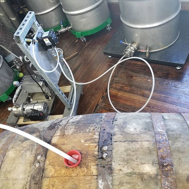 Just barreled our War Penny Bourbon in a @kroghsbrewpub 20th anniversary Imperial Stout beer barrel. The smell was absolutely fantastic. This is going to be a great one. Look for it in April.  #beerbarrel #brownstuff #imperialstout #whiskey #drinklocal #drinklocalnj #whiskeyporn #drinkcraftnotcrap #warpennybourbon #cantwait #liverdestruction #ooohthatsmell #93proof #yumm