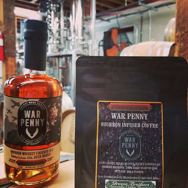 "Know how to drink bourbon at work without getting in trouble? Drink #bourbon barrel rested coffee. We let the El Salvador green beans soak up all the bourbon barrel goodness for a month then, gave them to Greene Brothers Coffee Roasters in Sparta NJ to roast them to a ""Full City"" profile. Stop in to get yours.  #drinklocal #drinklocalnj #drinkcraftnotcrap #distillercraft #distillery #coffee #coffeeholic #coffeelife #instacoffee #instawhiskey #instawhiskey #barista #baristadaily #coffeehouse#mixology #bourbonbarrel #coffeeporn"
