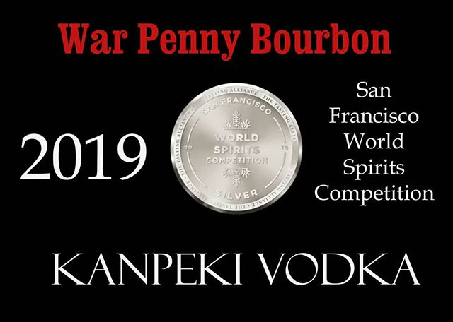 We are happy to announce that our War Penny Bourbon and Kanpeki rice Vodka has each won a silver medal at the San Francisco World Spirits Competition.  #warpennybourbon #kanpekivodka #vodka #bourbon #sanfranciscoworldspiritscompetition #awards #nailbiting #distillery #drinklocalnj #drinklocal #shouldhavebeengold #whiskey #craftdistillers #notforfaintofheart #wherehasmymoneygone #bling #guesswestillhavesomeworktodo #milkstreetdistillery