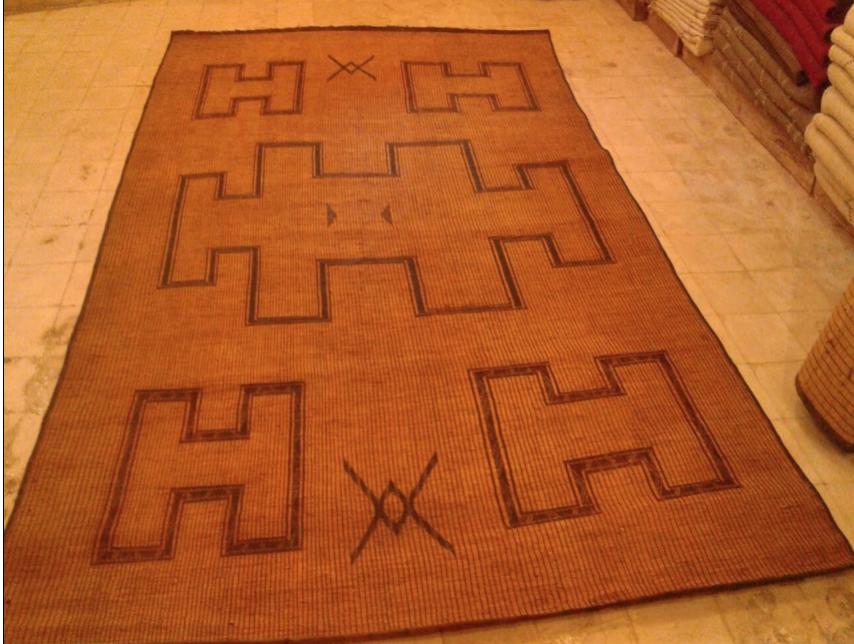 Tuareg leather and straw mat - Moroccan Berber Carpets - H design Tuareg Mat.png