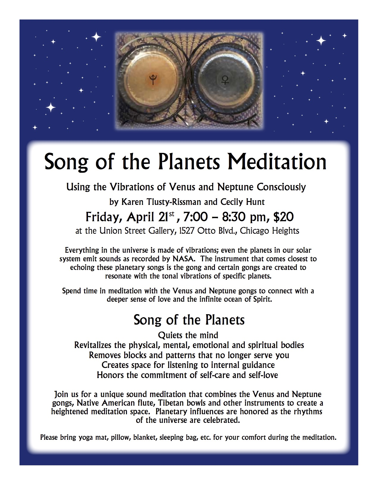 Song of the Planets Meditation $20 — Union Street Gallery