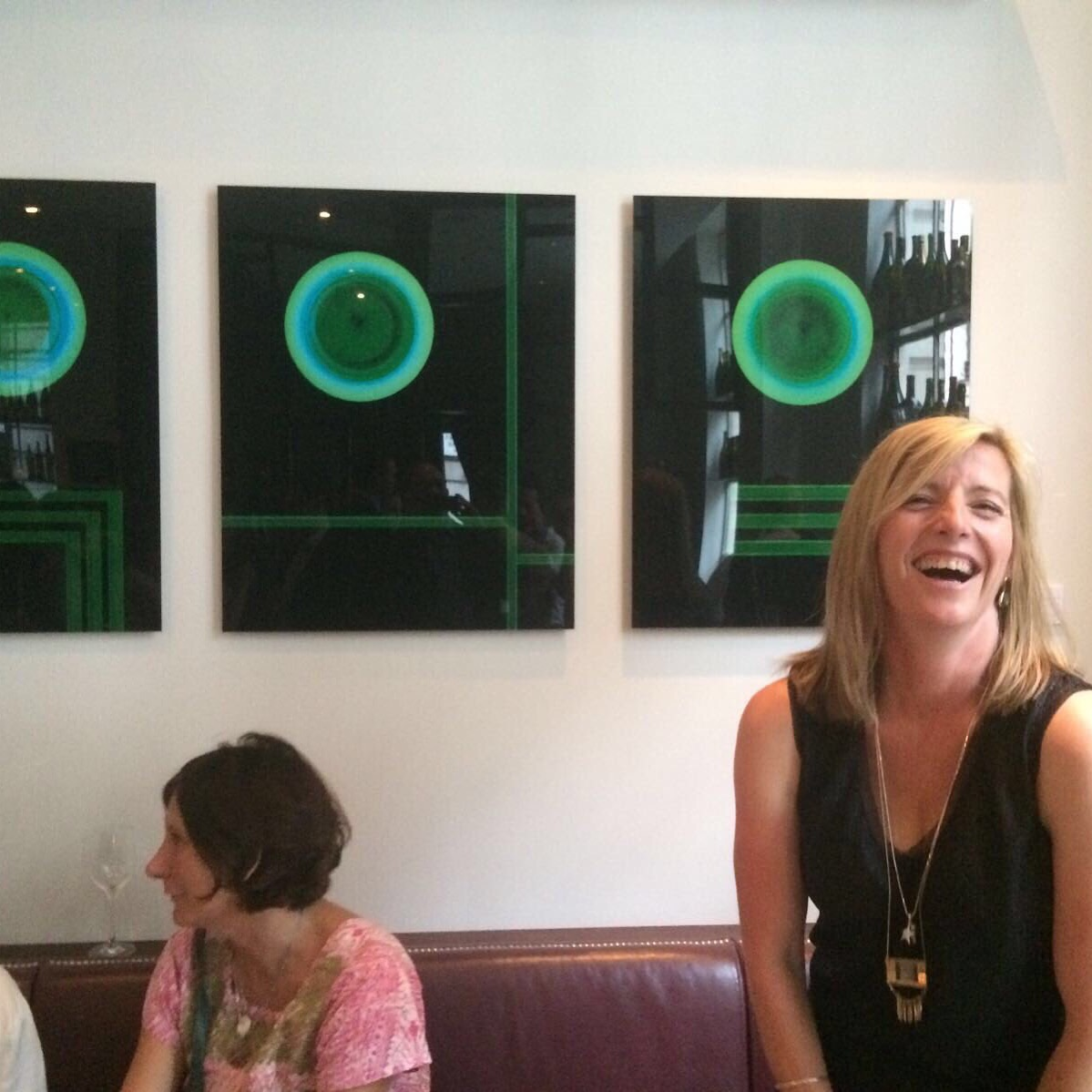Jo Bradford in front of the Elements Series at Lutyens Wine Bar, June 2016.