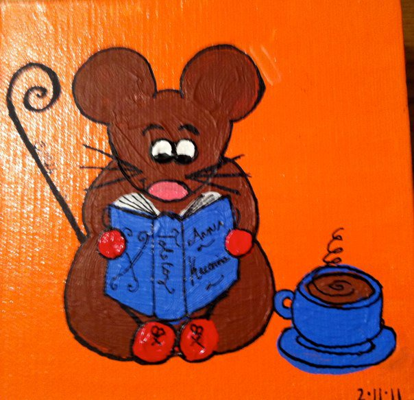 Literary Mouse with Tea
