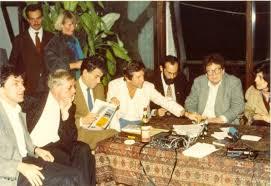 Kulturális ellenfórum, Budapest, 1985.  Tamás Gáspár Miklós, Konrád György,  a háttérben Karl Schwarzenberg