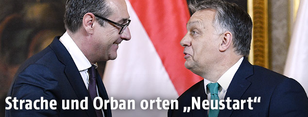 Új kezdet Heinz-Christian Strache, a szélsőjobboldali Osztrák Szabadságpárt elnöke és Orbán Viktor, a Fidesz elnöke