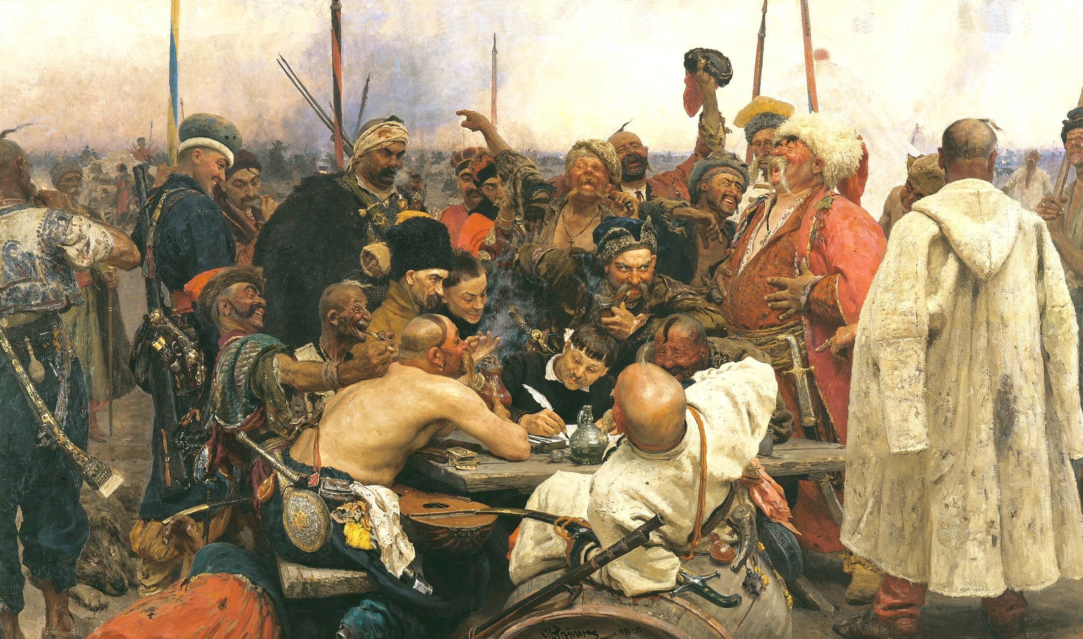 A zaporozsjei kozákok levelet írnak a szultánnak (Repin festménye)  Vörös köpenyben, fehér kucsmával Bulba Tarasz, Gogol regényének a hőse