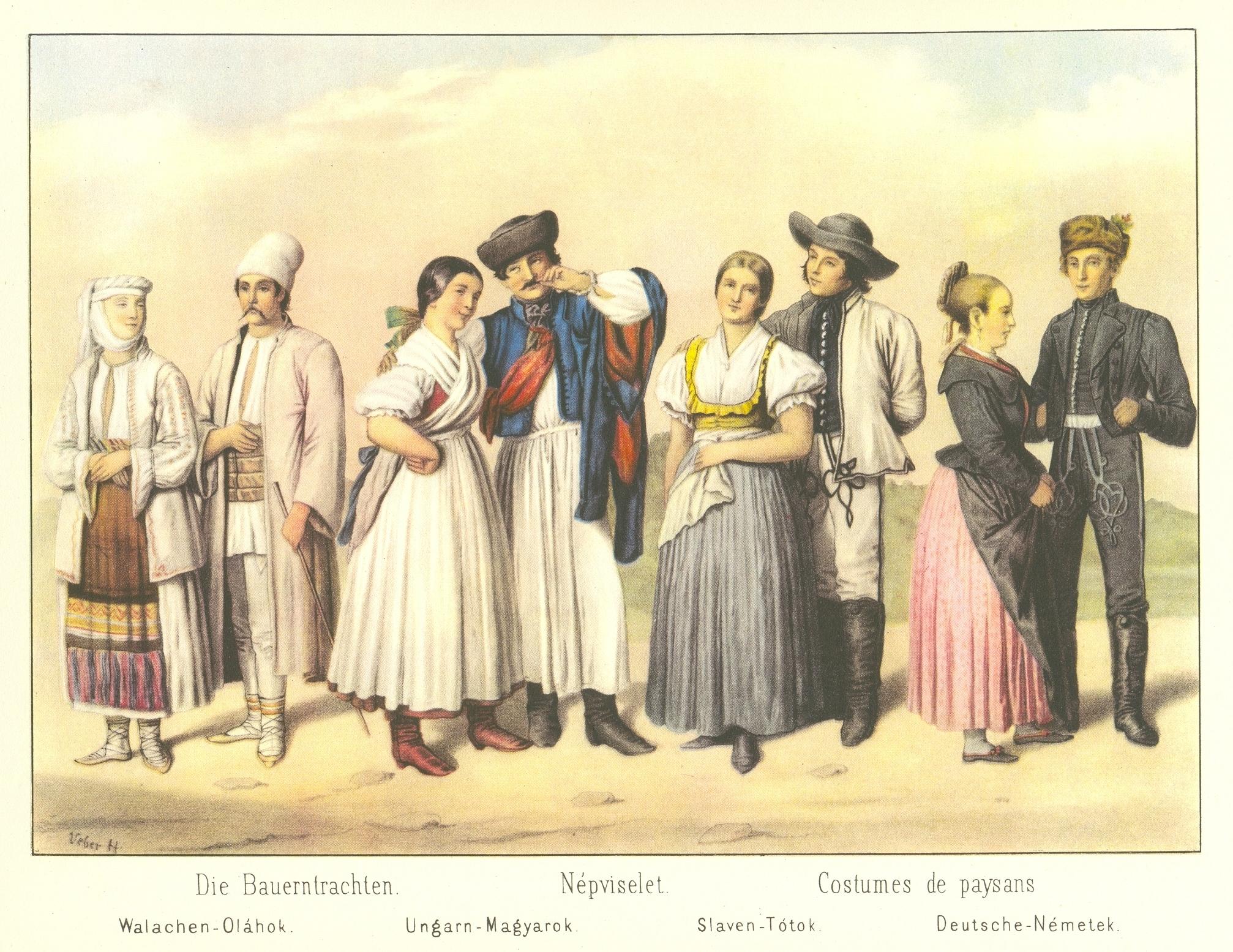 Magyarországi nemzetiségek viselete Weber Henrik litográfiáján, 1855