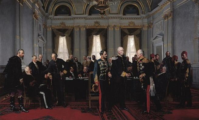 A berlini kongresszus. Anton von Werner festménye Középen: Andrássy Gyula, Otto von Bismarck és  Pjotr Suvalov, Oroszország londoni nagykövete