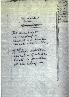 Illyés: Egy mondat. A vers autográf  kézirata Szabó Lőrinc hagyatékában  maradt fenn