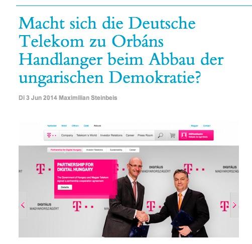 A Deutsche Telekom Orbán eszköze a magyar demokrácia leépítésénél?