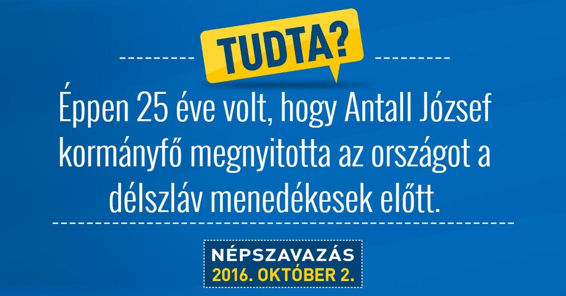A Magyar Helsinki Bizottság plakátja 2016. Mohács. 1991: Antall József a háborús menekültek befogadása mellett