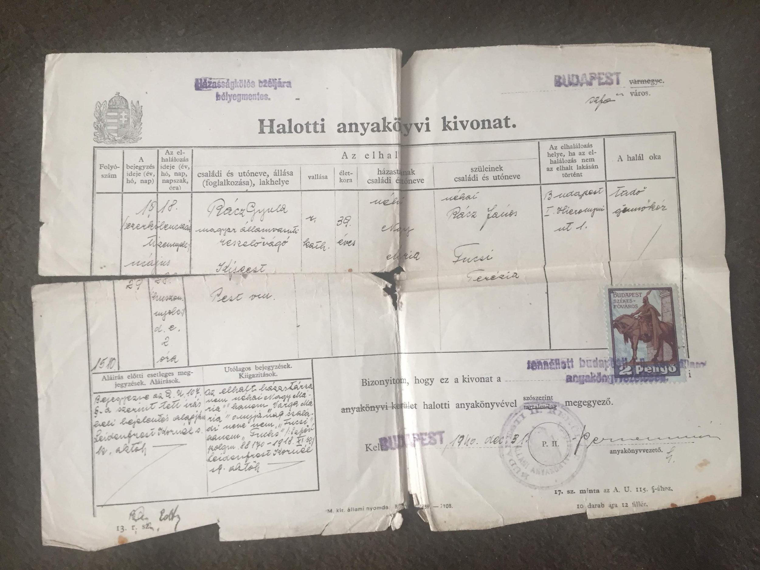 Rácz Gyula, gümőkórban elhunyt, római katolikus vasúti lakatos halotti bizonyítványa. 1944-ben ő volt a nagyapám