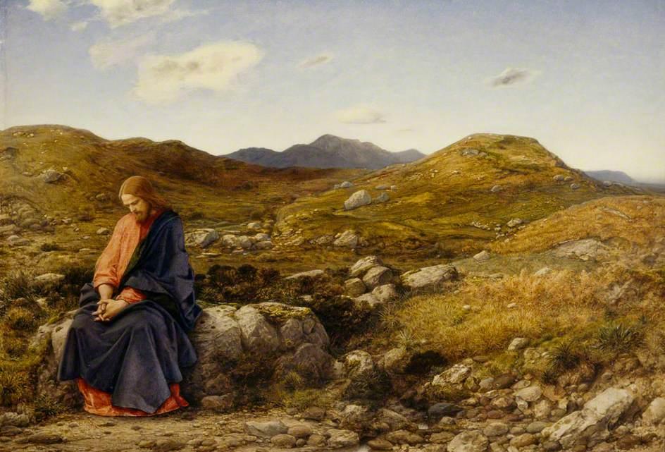 A pusztában negyven napig böjtölő Jézus  (William Dyce festménye)
