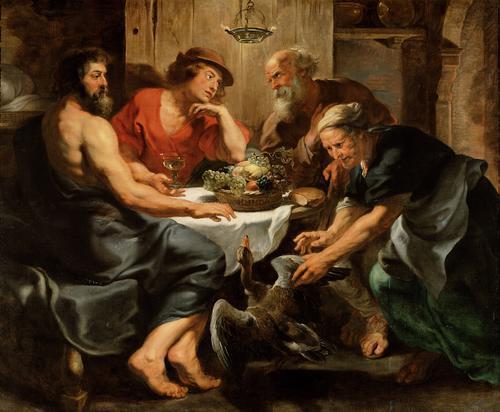 """Juppiter és Mercurius meglátogatja Philemont és Baucist, akik """"a halandók között a legboldogabbak"""". Rubens festménye"""