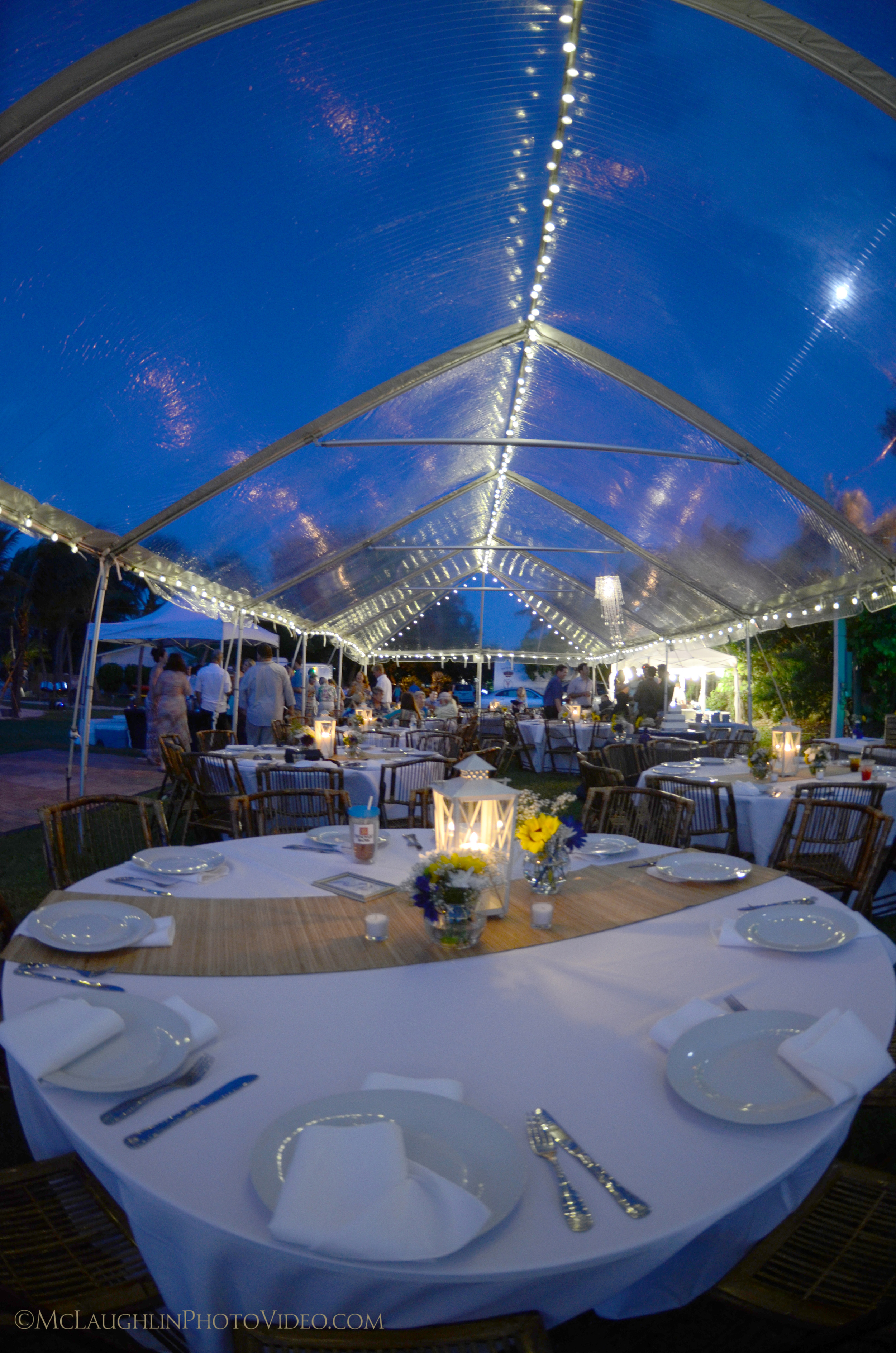 Clear Tent, Tables, Dinnerware