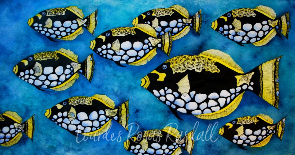 School's Out | Watercolor Tropical Fish Painting by Lourdes Rosas Rasdall