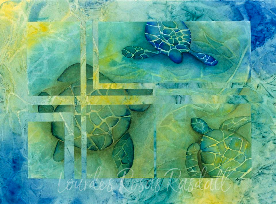 Reflections | Watercolor Turtle Painting by Lourdes Rosas Rasdall