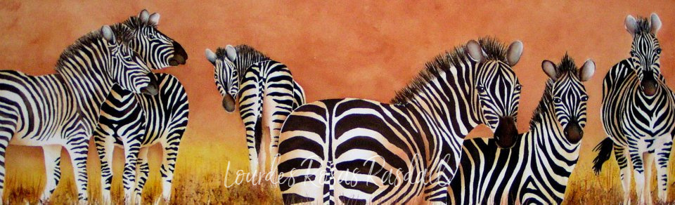 Reunion | Watercolor wildlife zebra painting by Lourdes Rosas Rasdall