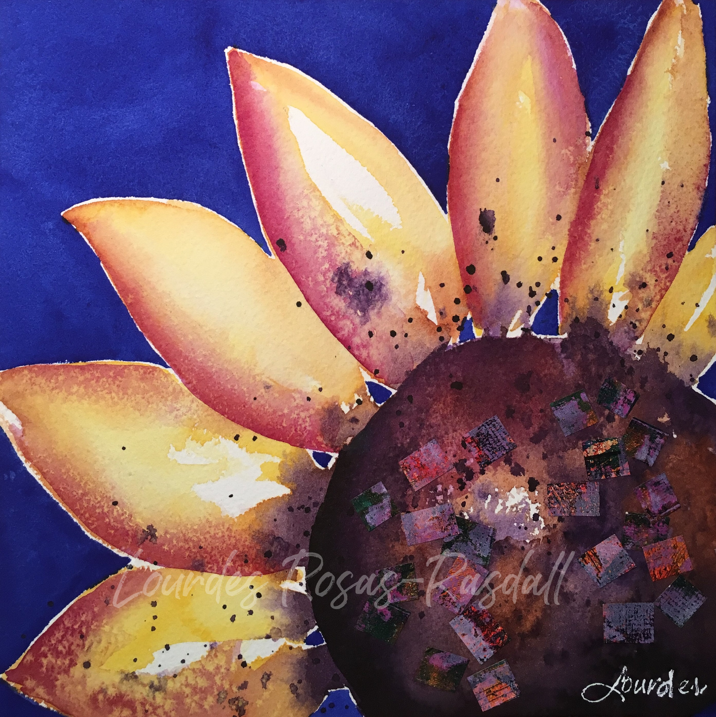 A New day | Sunflower Painted Papers Watercolor Art by Tampa Artist Lourdes Rosas-Rasdall