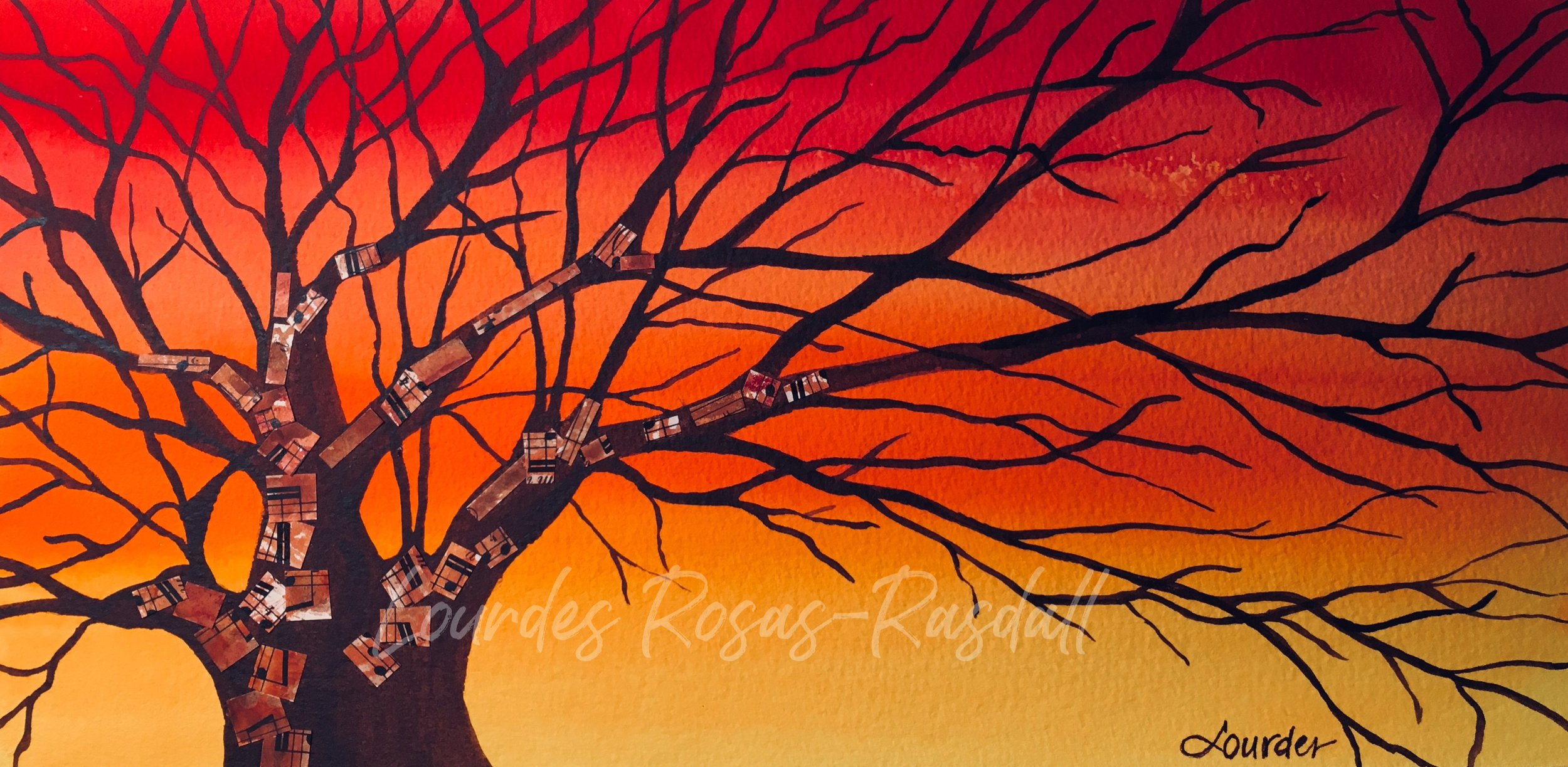 At the End of Day | Watercolor mixed media tree painting