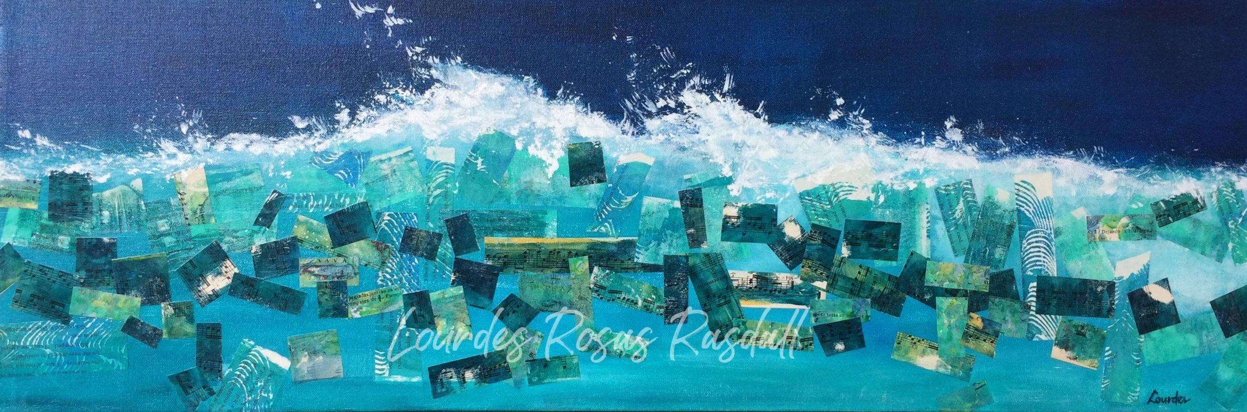 The Restless Ocean | Watercolor mixed media crashing waves artwork