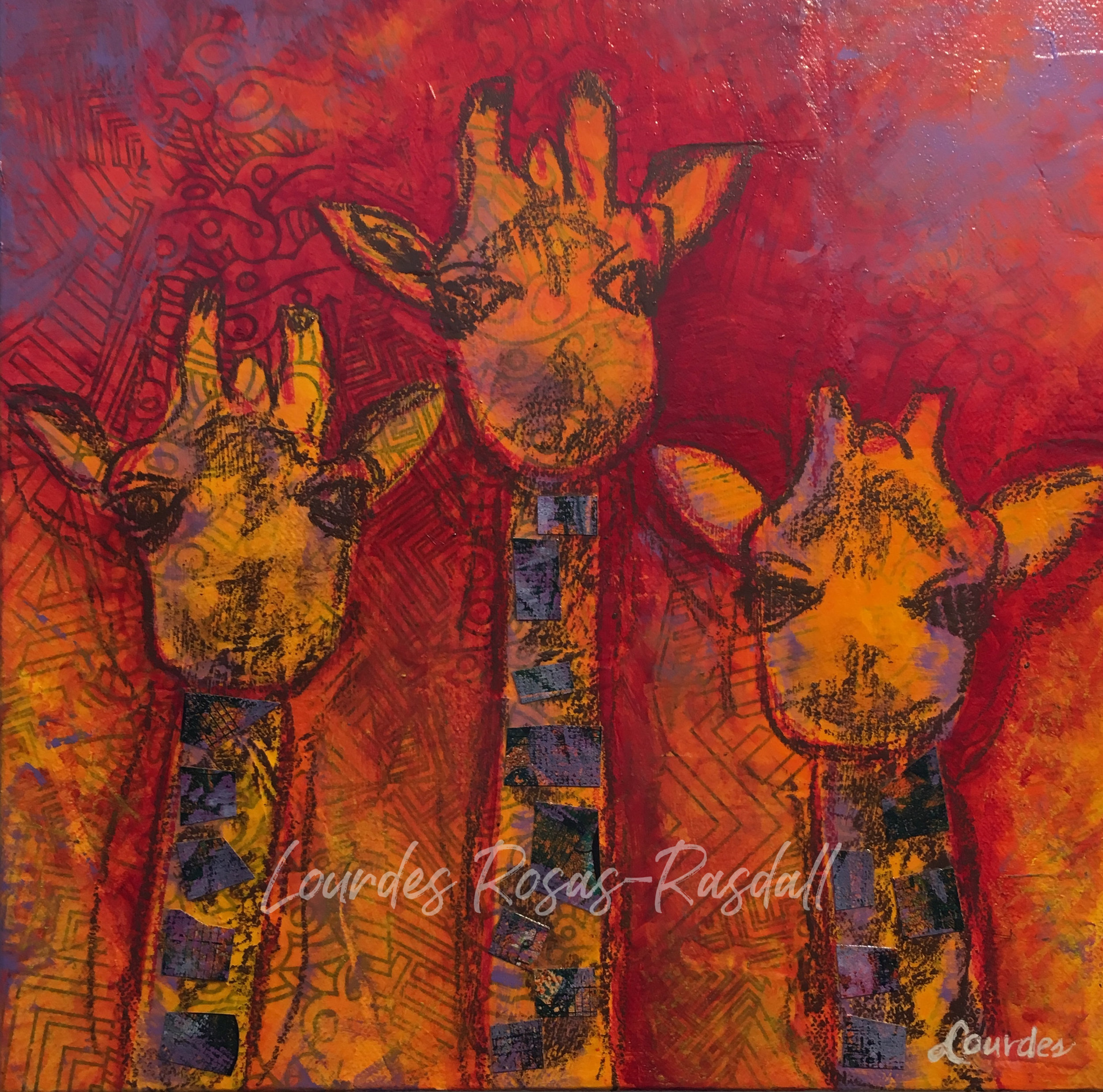Young Ones | Mixed Media Watercolor Giraffes