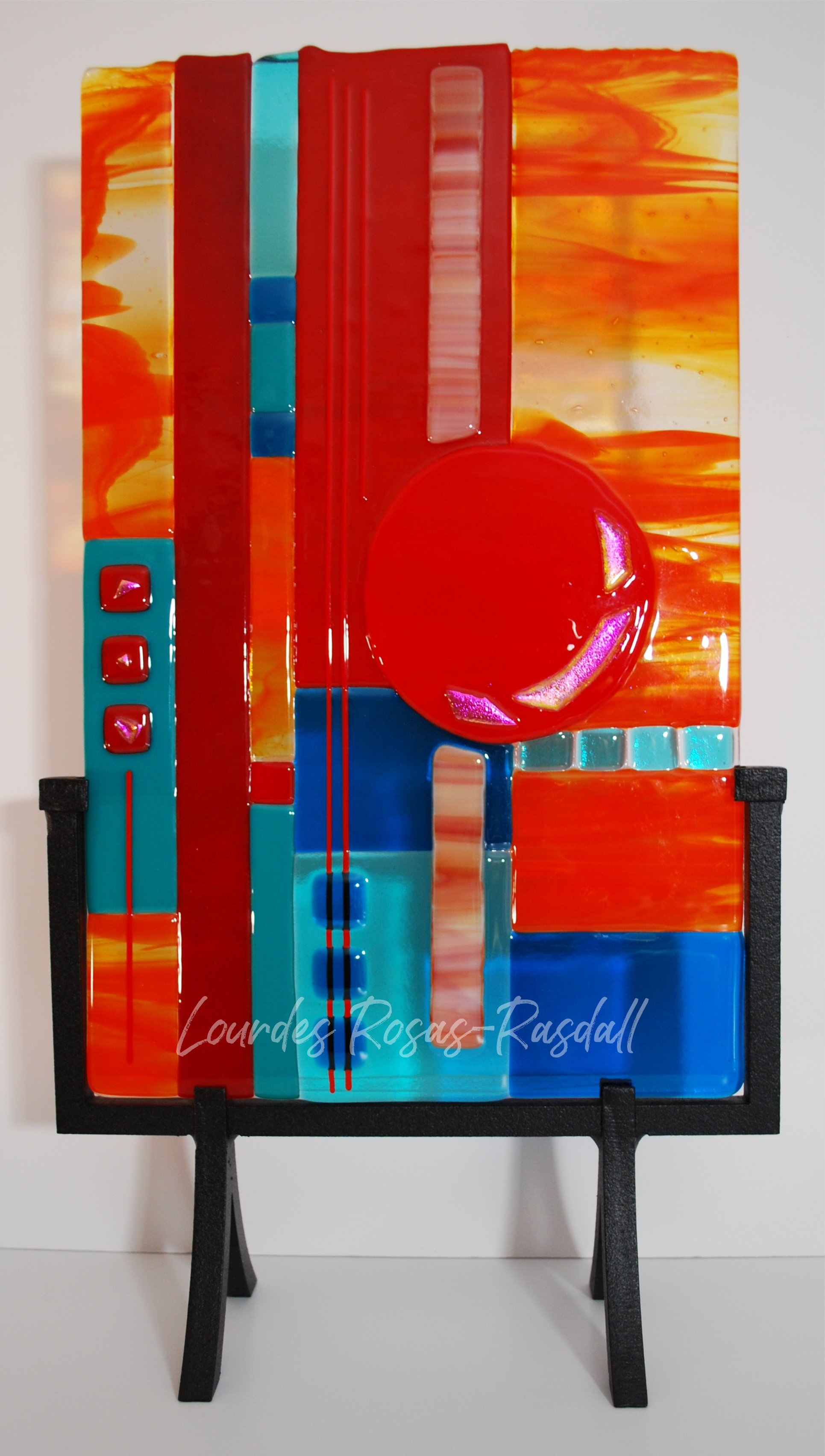 Navajo Sunset 2015 | Colorful Fused Glass Art
