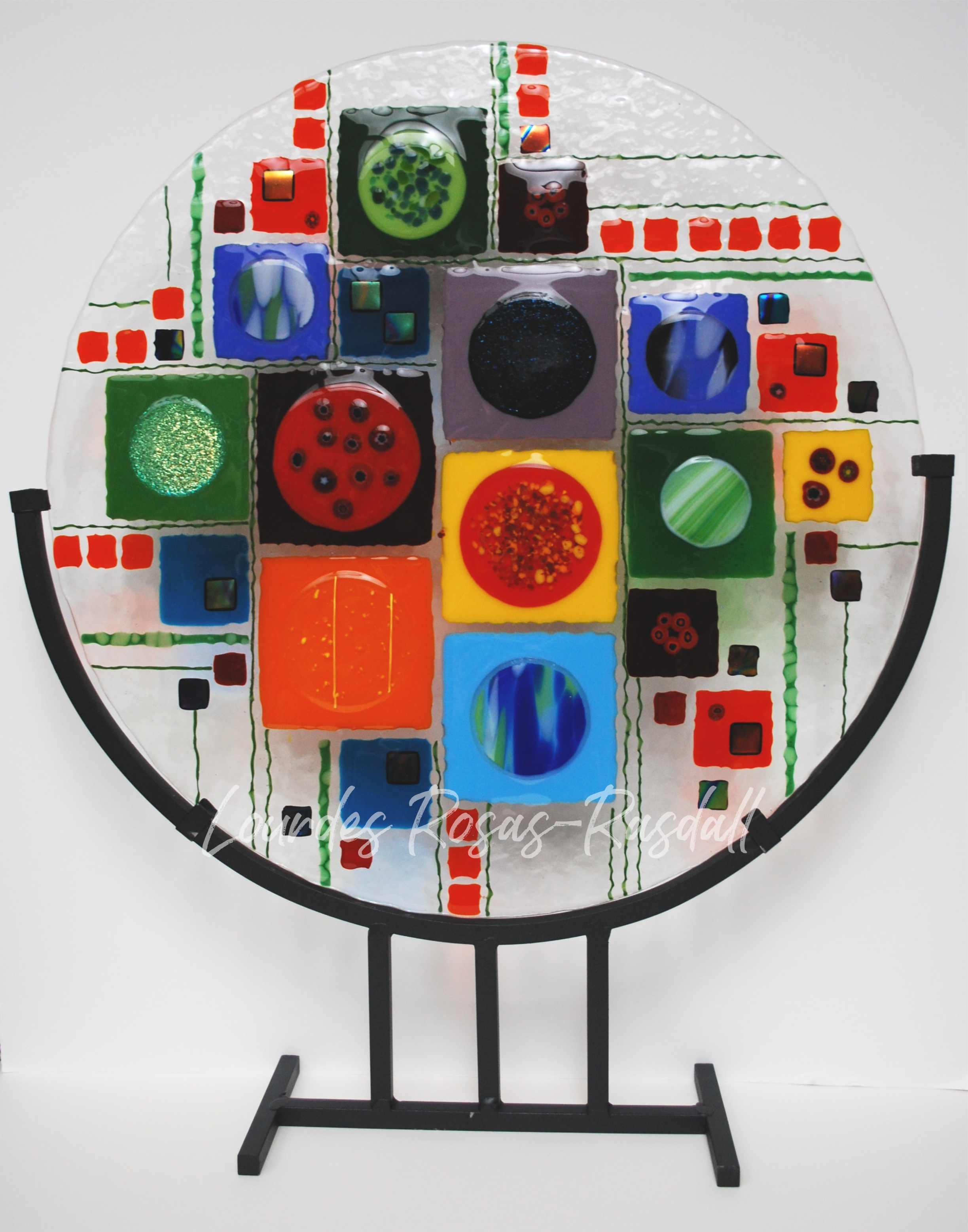 New Geometry | Colorful Fused Glass Circle on Stand
