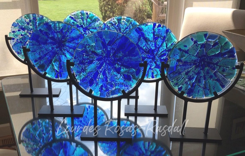Eight Custom Fused Glass Awards