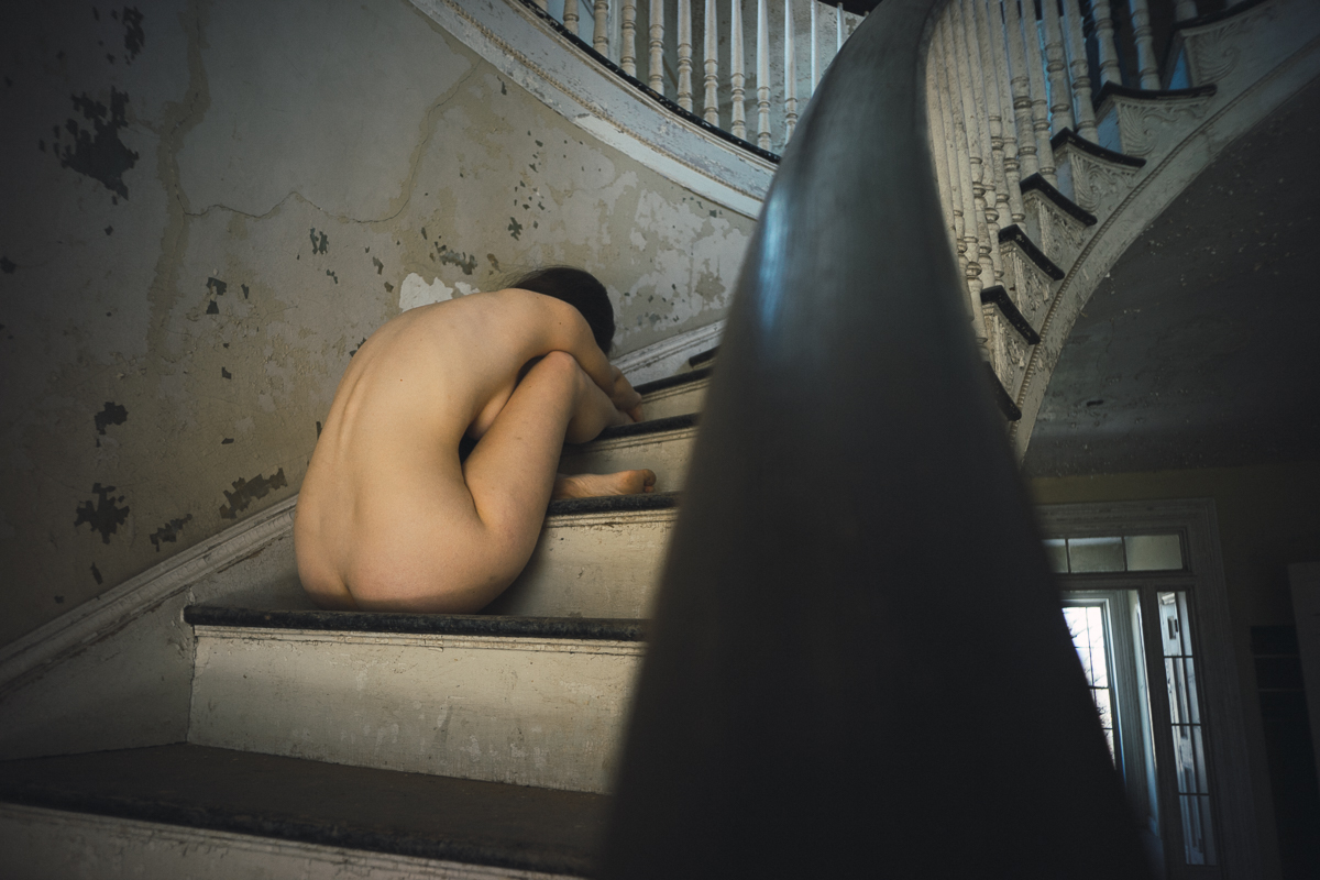 Jennie on the stairs