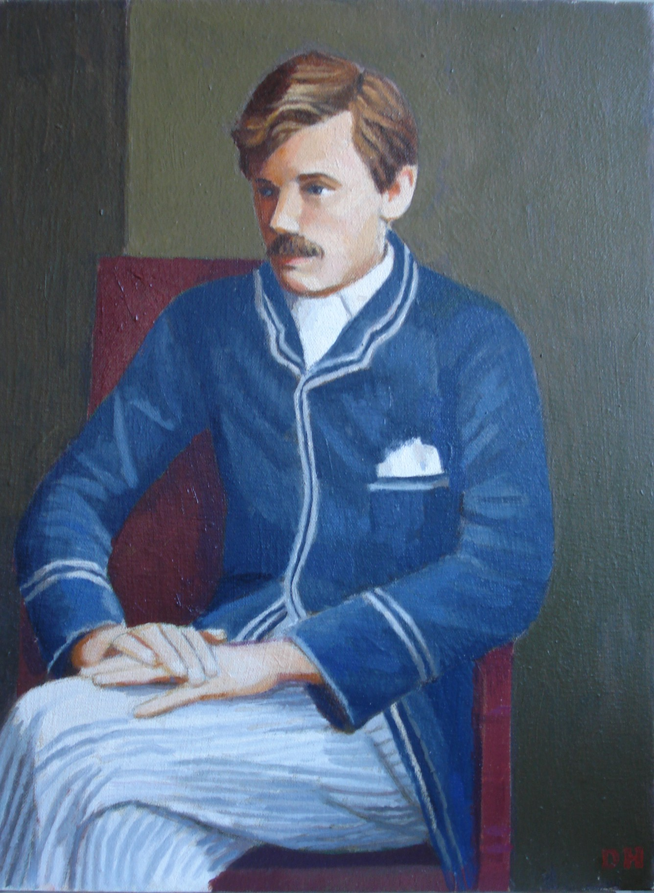 Duncan Hannah is known for painterly realism. This is his portrait of 19th century English poet Ernest Dowson, a member of the Decadents.