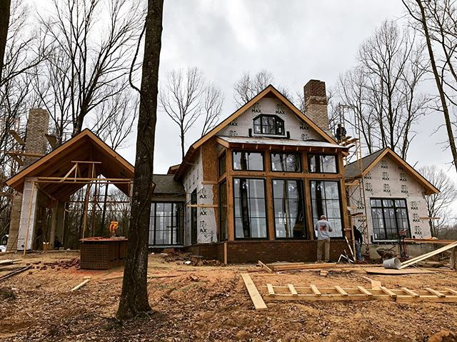 Between rains making progress on a neat cabin project in Madison County! #porticohomes #design #cabin #lakehouse